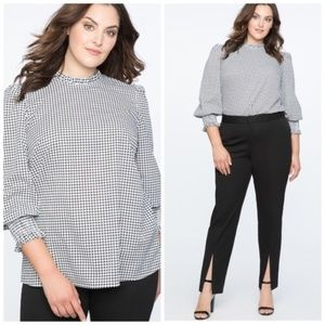 Eloquii Houndstooth Ruffle Neck Smock Cuffed Top